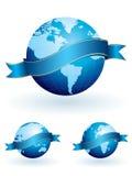 De bollen van de wereld met banners Stock Afbeeldingen