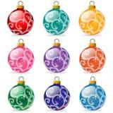 De Bollen van het Ornament van de kerstboom Stock Foto's