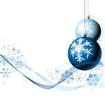 De bollen van Kerstmis met sneeuwvlokken Stock Foto's