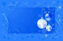 De bollen van Kerstmis met sneeuwvlokken Stock Illustratie