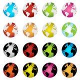 De bolpictogrammen van de aarde Stock Afbeeldingen