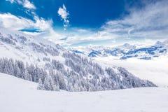 De bomen door verse sneeuw in Tyrolian-Alpen van Kitzbuhel-ski worden behandeld nemen, Oostenrijk dat zijn toevlucht Royalty-vrije Stock Fotografie