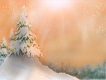 De bomen en de sneeuw van de landschapsaard vallen met bossen in de winter op zonneschijnachtergrond vector illustratie