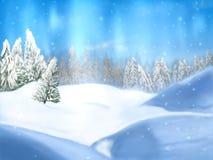 De bomen en de sneeuwdaling van de landschapsaard met bossen in de winter vector illustratie