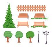 De bomen van de bankomheining en lampenpictogrammen stock illustratie