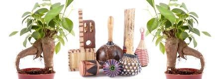 De bomen van de bonsai en Afrikaanse muzikale instrumenten Stock Afbeeldingen