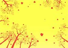De Bomen van de herfst tegen Hemel Stock Afbeelding