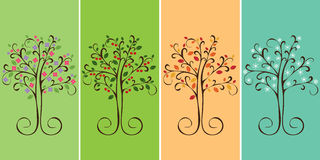 De bomen van de vier seizoenen Stock Fotografie