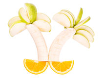 De bomen van het fruit van bananen, appelen en sinaasappelen worden gemaakt die royalty-vrije stock foto's