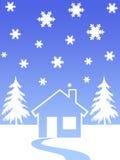 De bomen van het huis en van Kerstmis Stock Foto
