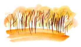 De bomen van de waterverfherfst stock illustratie
