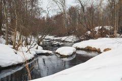 De bomen worden weerspiegeld in de rivier royalty-vrije stock fotografie