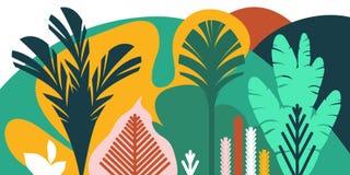 De bomen zijn breedbladige tropisch, varens Vlakke stijl Behoud van het milieu, bossen park, openlucht vector illustratie