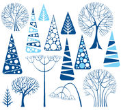 De bomeninzameling van de winter Stock Foto's