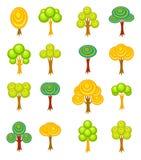 De bomenpictogrammen van het beeldverhaal Royalty-vrije Stock Afbeelding