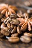 De bonen en de kruiden van de koffie Stock Afbeelding