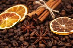De bonen en de kruiden van de koffie Stock Foto's