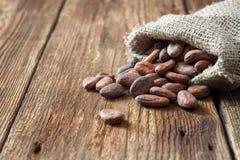 De bonen van de cacaocacao in jutezak stock foto