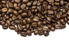 De bonen van Coffe die op wit worden geïsoleerdr Royalty-vrije Stock Afbeeldingen