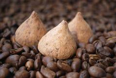 De bonen van de chocolade en van de koffie Stock Foto