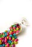 De bonen van de kleur candie in glas Royalty-vrije Stock Foto's