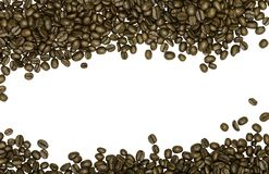 De Bonen van de koffie die op witte achtergrond worden geïsoleerde Royalty-vrije Stock Afbeeldingen