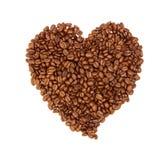 De Bonen van de koffie die op witte achtergrond worden geïsoleerde Stock Fotografie