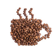 De bonen van de koffie in een vorm van koffiekop royalty-vrije stock afbeelding