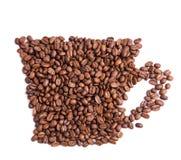 De bonen van de koffie in een vorm van koffiekop royalty-vrije stock fotografie