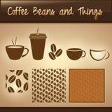 De Bonen van de koffie en Dingen Stock Afbeelding