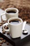 De bonen van de koffie en koffie Stock Foto's