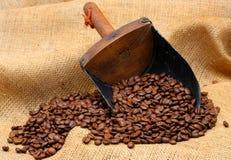De Bonen van de koffie en Lepel Royalty-vrije Stock Foto's