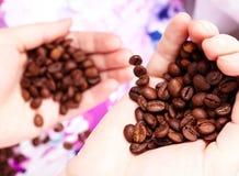 De bonen van de koffie in handen Stock Afbeelding