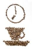 De bonen van de koffie klokken bij 7 Royalty-vrije Stock Afbeeldingen
