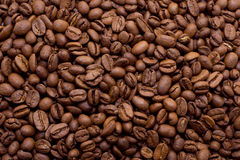 De bonen van de koffie in macroclose-up Stock Foto