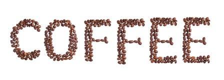 De bonen van de koffietitel op wit worden geïsoleerd dat Royalty-vrije Stock Fotografie