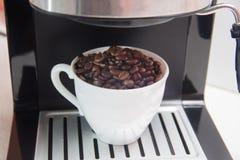 De bonen van de koffie in een witte kop Voorbereiding van koffie stock fotografie
