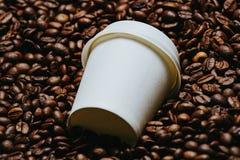 De bonen van de koffie met witte kop Royalty-vrije Stock Fotografie