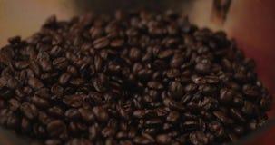 De Bonen van de premiekoffie na het Roosteren, Grond in een Koffiemolen Voorraadlengte Conceptenbegin de Dag met Koffie stock footage