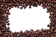 De bonenframe van de koffie op wit Stock Foto