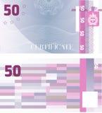 De Bonmalplaatje 50 van het giftcertificaat met guilloche patroonwatermerken en grens Achtergrond bruikbaar voor coupon, bankbilj stock illustratie