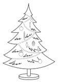 De bont-boom van Kerstmis, contouren Stock Foto's