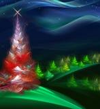 De bont-boom van Kerstmis in het nachtbos Stock Foto's