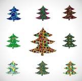 De bont-Boom van Kerstmis van de inzameling. Royalty-vrije Stock Fotografie