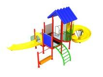 De bont 3D speelplaats ÐºÑ€Ð°Ñ  Ð ½ Ð°Ñ  geeft op witte achtergrond n terug Stock Foto's