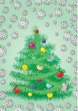 De bont kaart van de Kerstboom Stock Fotografie