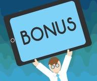 De Bonus van de handschrifttekst Het concept die Beloning voor goed prestaties Extra dividend en geld betekenen voegde aan lonen  royalty-vrije illustratie