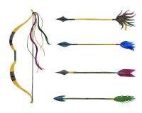 De boog en de pijlen van de jacht waterverf reeks vector illustratie
