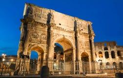 De Boog van Constantine dichtbij Colosseum in Rome, Italië Stock Fotografie