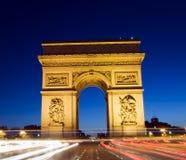 De boog van DE triomphe van de boog van triomf Parijs Frankrijk Stock Afbeeldingen